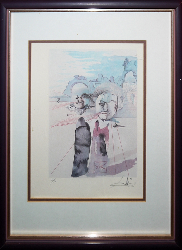 """Salvador Dalí, 3 Blätter: 2 Farbholzschnitte aus """"die Göttliche Komödie..."""