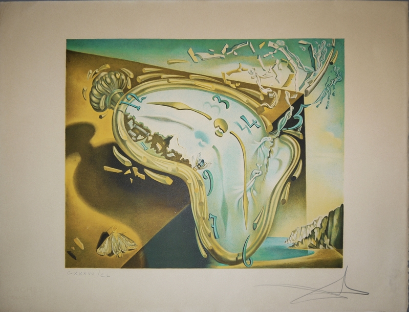 Salvador Dalí, Montre Molle, signierte Farblithographie, o. Rahmen