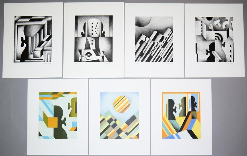 Ludwig Gebhard, Figurative und abstrakte Kompositionen, 7 signierte...