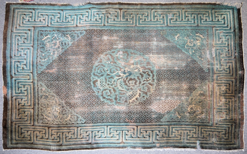 Musealer Ningxia-Drachenteppich der Qing-Zeit, China 18. Jh.