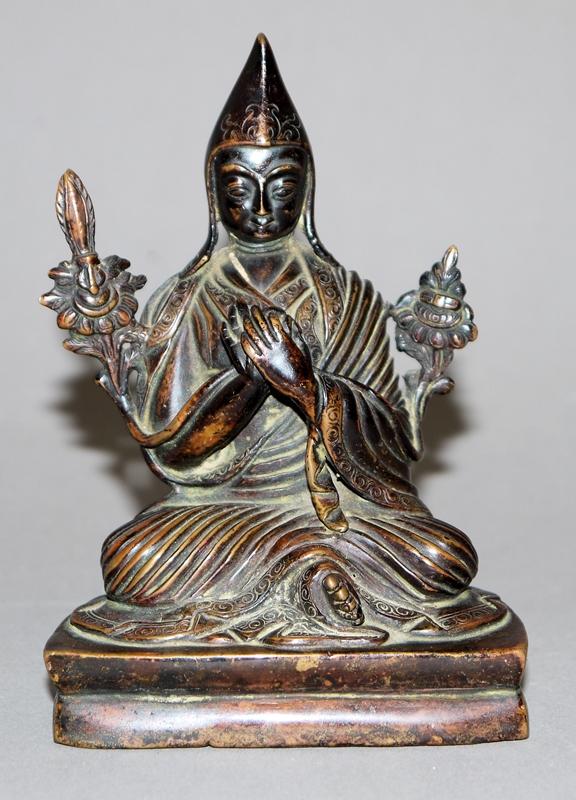 Bronze des Tsongkhapa, Tibet/Nepal 20. Jh.