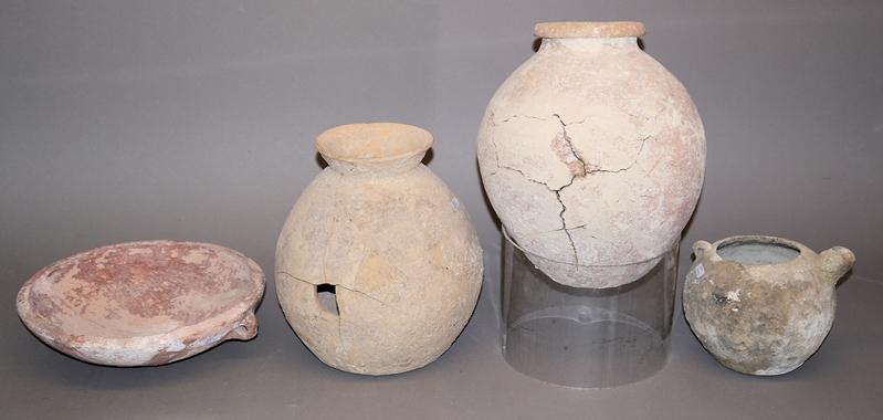 Vier Keramikgefäße, Europa, Eisenzeit bis römisch, 6.Jh. v.-2./3. Jh. n...