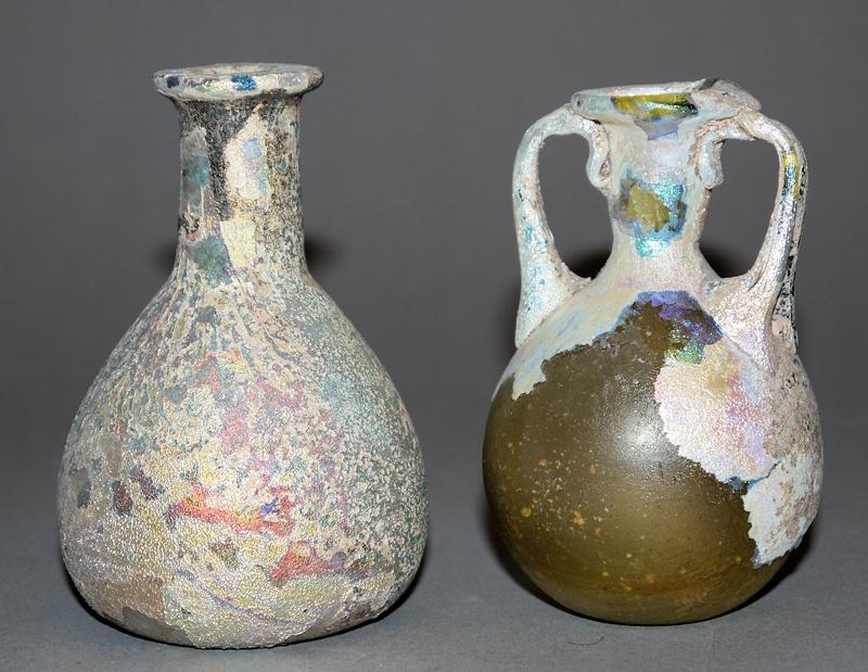 2 x römisches Glas: Unguentarium & Amphoriskos, östliches Mittelmeer, 1.-2...